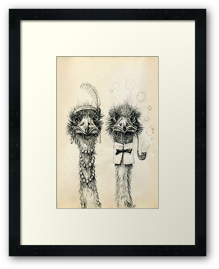 Mr. and Mrs. Ostrich by Redilion