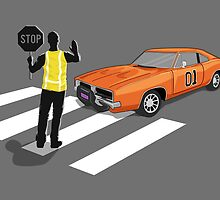 Dukes Of Hazzard Zebra Crossing (General Lee Car) by Creative Spectator