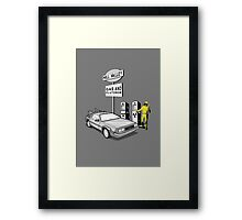 Back to the Future Delorean 'Hill Valley Gas Station' Framed Print