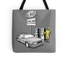 Back to the Future Delorean 'Hill Valley Gas Station' Tote Bag