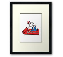 Carpet Layer Fitter Worker Cartoon Framed Print