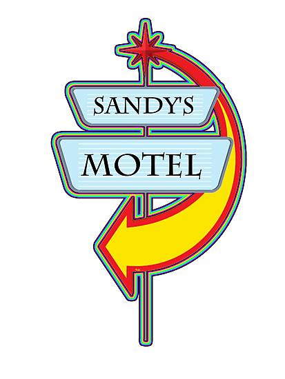 Sandy's Motel campy truck stop tee  by Tia Knight