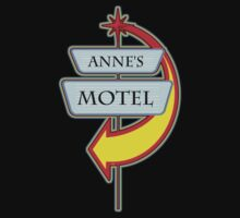 Anne's Motel campy truck stop tee  by Tia Knight