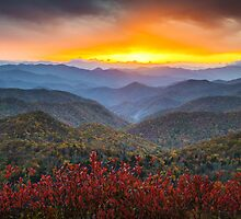 Blue Ridge Parkway Autumn Sunset NC - Rapture by Dave Allen