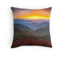 Blue Ridge Parkway Autumn Sunset NC - Rapture Throw Pillow