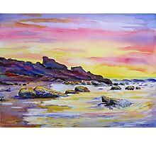 Rocky beach in the sunset Photographic Print