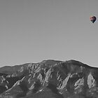 Boulder Colorado Flatirons Hot Air Balloon View BW by Bo Insogna