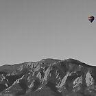 Boulder Colorado Flatirons Hot Air Balloon View BW by Bo Insogna
