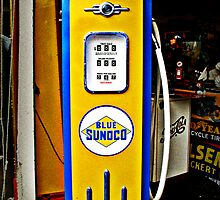 Blue Sunoco vintage gas pump by htrdesigns