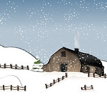 Winter old barn by ralphiespicks