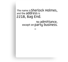 221B Bag End-SH Canvas Print