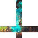 Green Galaxy Inverted Cross White by rapplatt