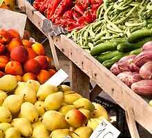 Fresh Organic Fruits and Vegetables At A Street Market by Kuzeytac