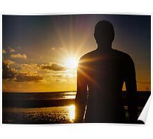 Iron Man at Sunset, Crosby Beach Poster