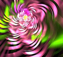 Swirling Green and Pink Ribbons by pjwuebker