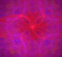 Red Floral and Purple Abstract by pjwuebker