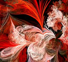 Red and White Abstract Feathers by pjwuebker