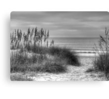 Serenity Beach In Black And White Canvas Print