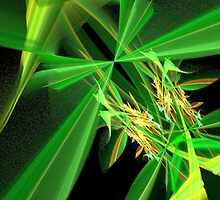 Green Flying Insect Abstract by pjwuebker
