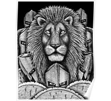 Spartan Lion black and white pen ink surreal drawing Poster