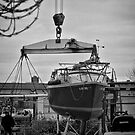 Sailboat in Dry dock by Sven Brogren