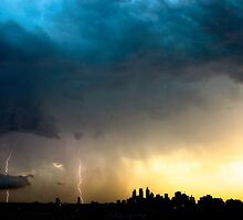 Lightning storm over Sydney city, Australia by Sharpeyeimages