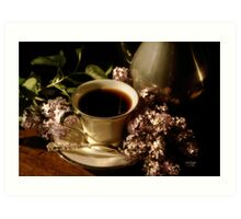 Coffee and Lilacs in the Morning Art Print