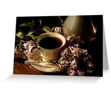 Coffee and Lilacs in the Morning Greeting Card