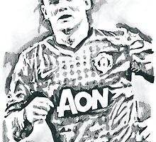 Wayne Rooney Pencil & Ink Sketch by chrisjh2210