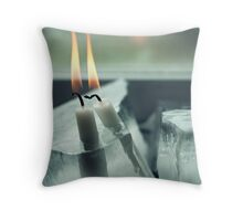 Frozen Lit Candles - Card Edition Throw Pillow