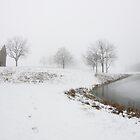 Pond And Barn With Cover of Snow by jpsphotoart