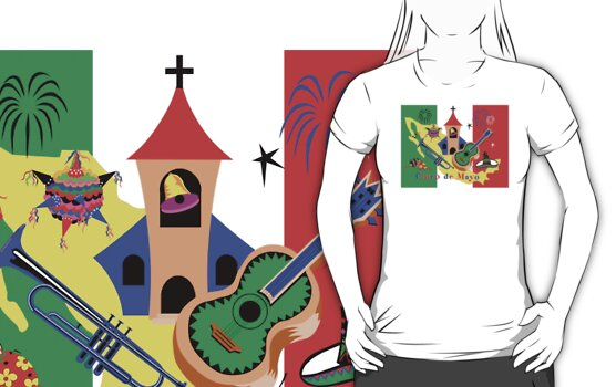 Cinco de Mayo with Mexican Flag by HolidayT-Shirts