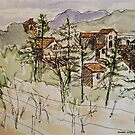 Anghiari. Tuscany Italy. Pen and wash. 2010Ⓒ Framed 42x32 FOR SALE at lizmooregolding@gmail.com by Elizabeth Moore Golding