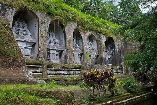 Ancient stone-hewn Hindu altars Gunung Kawi, Gianyar Regency, Bali, Indonesia by Michael Brewer