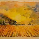 Ploughed field, Tuscany. Watercolour. 32x24cm. Framed. 2010Ⓒ by Elizabeth Moore Golding