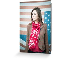 Vintage fashion shot of young woman in front of US and UK flags Greeting Card
