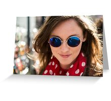 Beautiful woman wearing round sun glasses Greeting Card