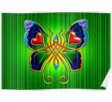 Celtic Butterfly on Green Poster