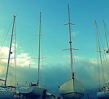 Sail Boats In Bangor Marina by Fara