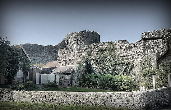 Pevensey Castle (4) .. The Rear Wall by Larry Lingard-Davis
