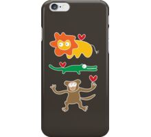 Cartoon Lion, Alligator & Chimpanzee Trio iPhone Case/Skin