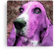 Basset Hound - Pop Art Pink Canvas Print