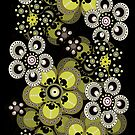 Peridot Green Fantasy Flowers iPad Case by Cherie Balowski