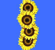Iphone Case Sunflowers - Mid Blue by Mark Podger