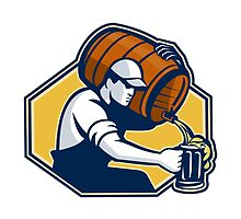 Bartender Worker Pouring Beer From Barrel To Mug by retrovectors