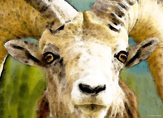 Sheep Art - Ram Tough by Sharon Cummings