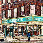 BOUTIQUE FLEURISTE COIN VERT MONTREAL SCENES by Carole  Spandau