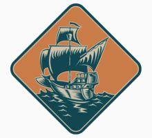 Tall Sailing Ship Retro Woodcut T-Shirt