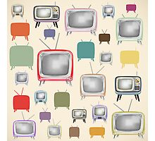 vintage television pattern Photographic Print