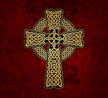 Celtic Cross in gold colors by chromedreaming